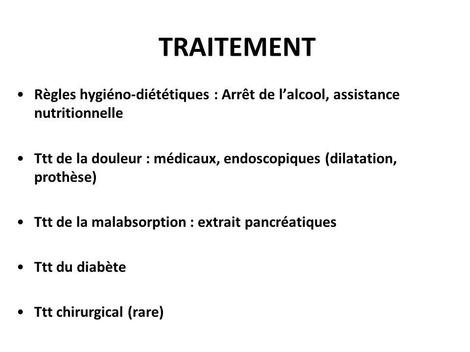 TRAITEMENT Règles hygiéno-diététiques : Arrêt de l'alcool, assistance nutritionnelle.