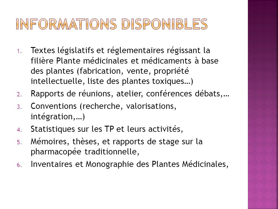 Le service de la pharmacopee et de la medecine traditionnelle ppt t l charger - Liste des plantes medicinales ...