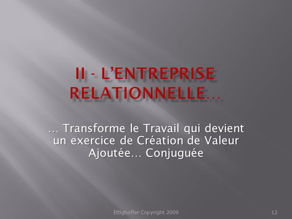 II - L'Entreprise Relationnelle…