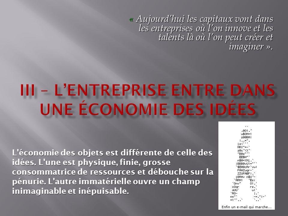 III – L'Entreprise entre dans une économie des Idées