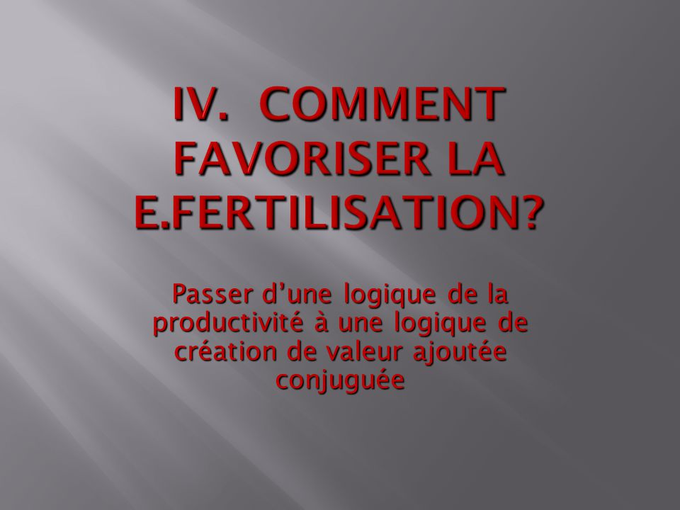 IV. Comment favoriser la e.fertilisation