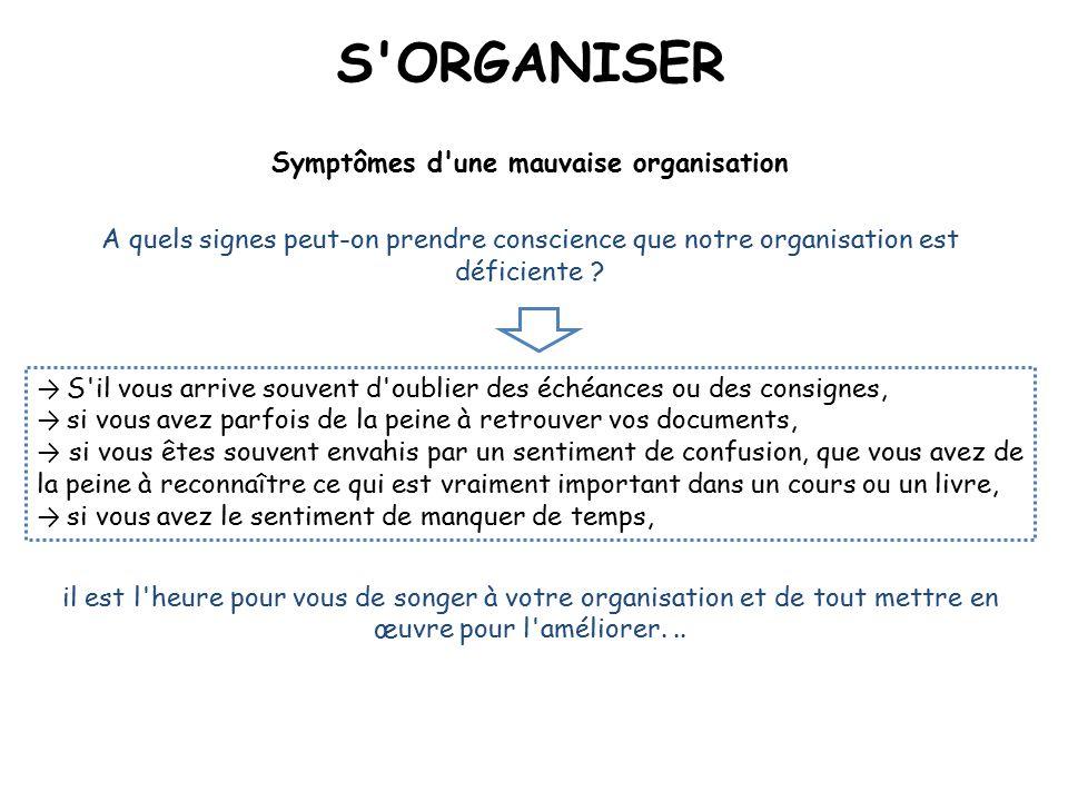 Symptômes d une mauvaise organisation