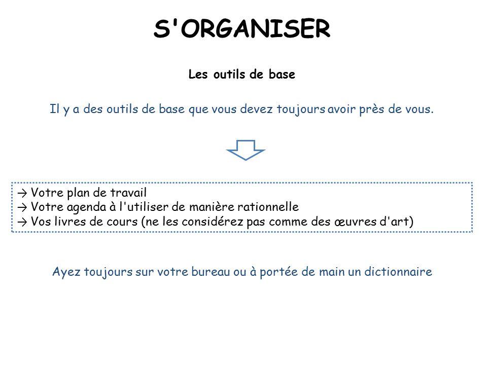 S ORGANISER Les outils de base