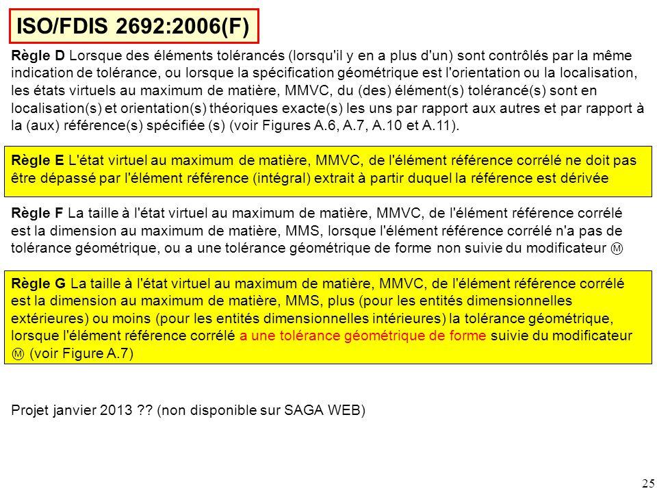 ISO/FDIS 2692:2006(F) Règle D Lorsque des éléments tolérancés (lorsqu il y en a plus d un) sont contrôlés par la même.