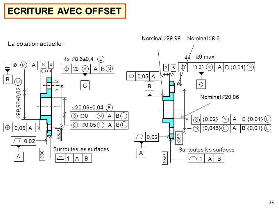 ECRITURE AVEC OFFSET La cotation actuelle : A A B A B {0,01} {0,01}