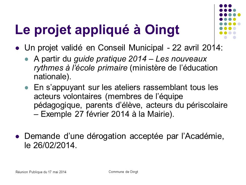 Le projet appliqué à Oingt