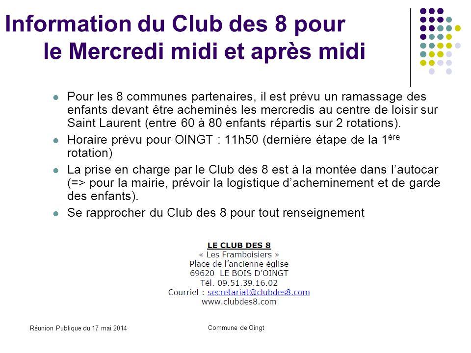 Information du Club des 8 pour le Mercredi midi et après midi