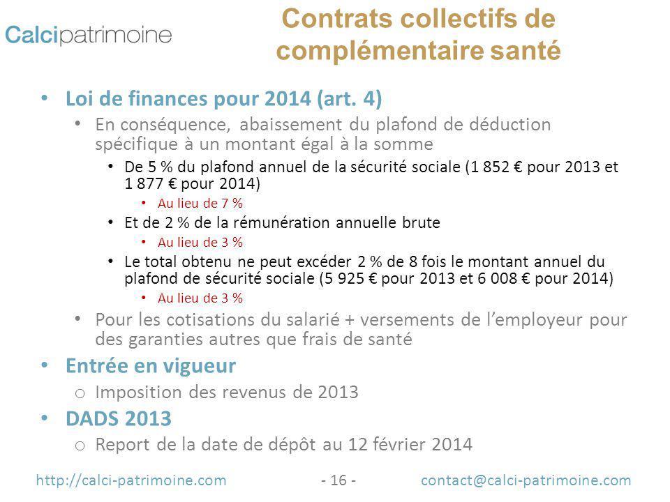 Principales mesures fiscales de la loi de finances pour 2014 et de la loi de finances - Montant plafond securite sociale ...