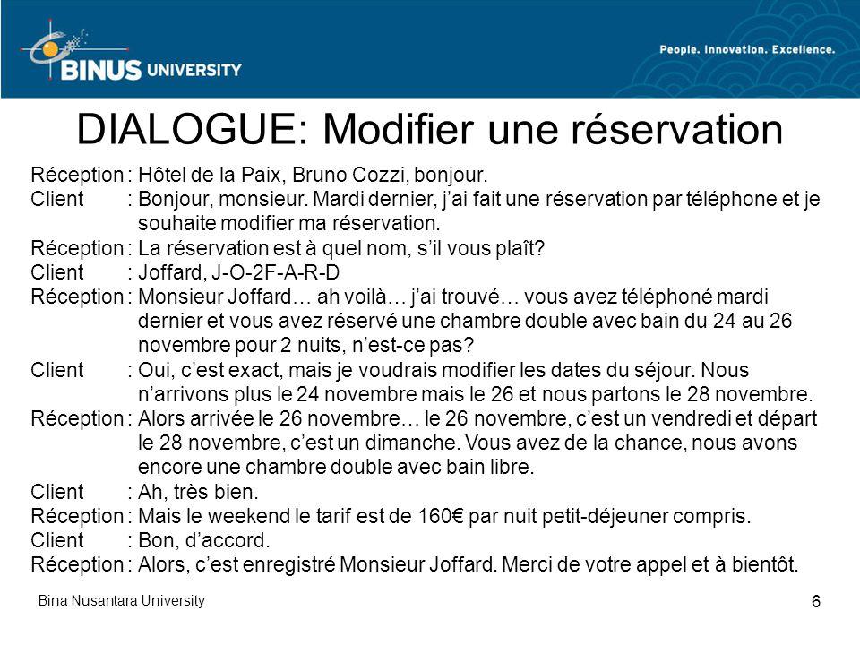 Reservation refuser modifier annuler pertemuan 4 ppt for Reservation d une chambre