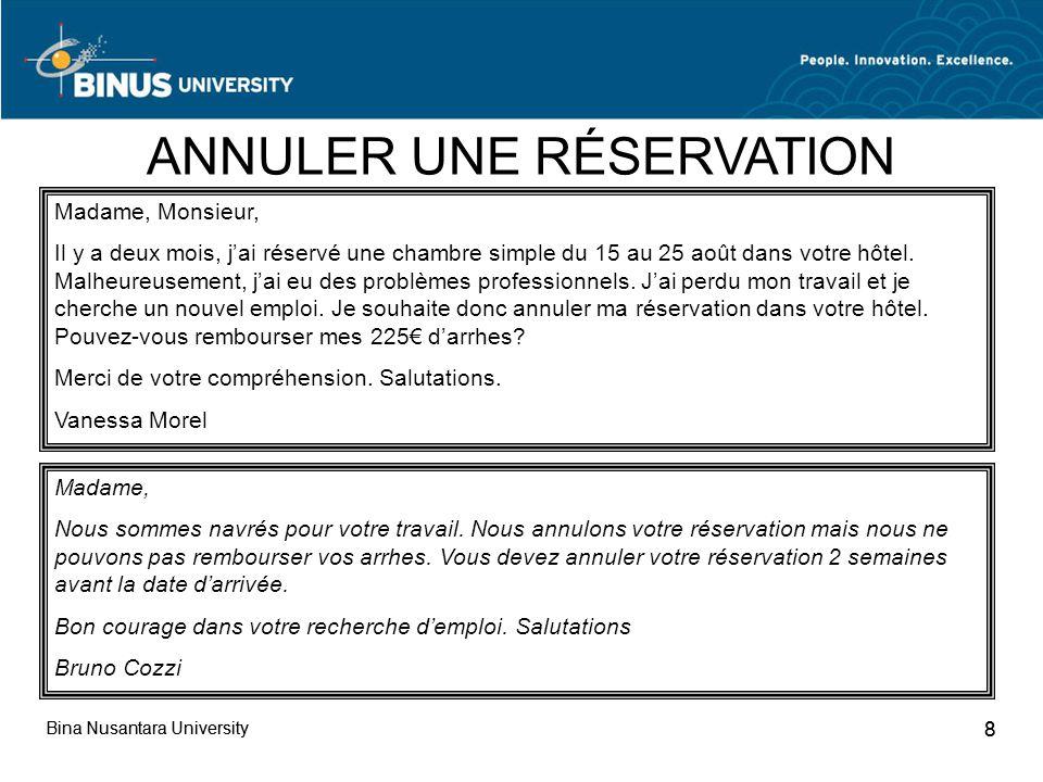 Reservation refuser modifier annuler pertemuan 4 ppt for Bon de reservation hotel
