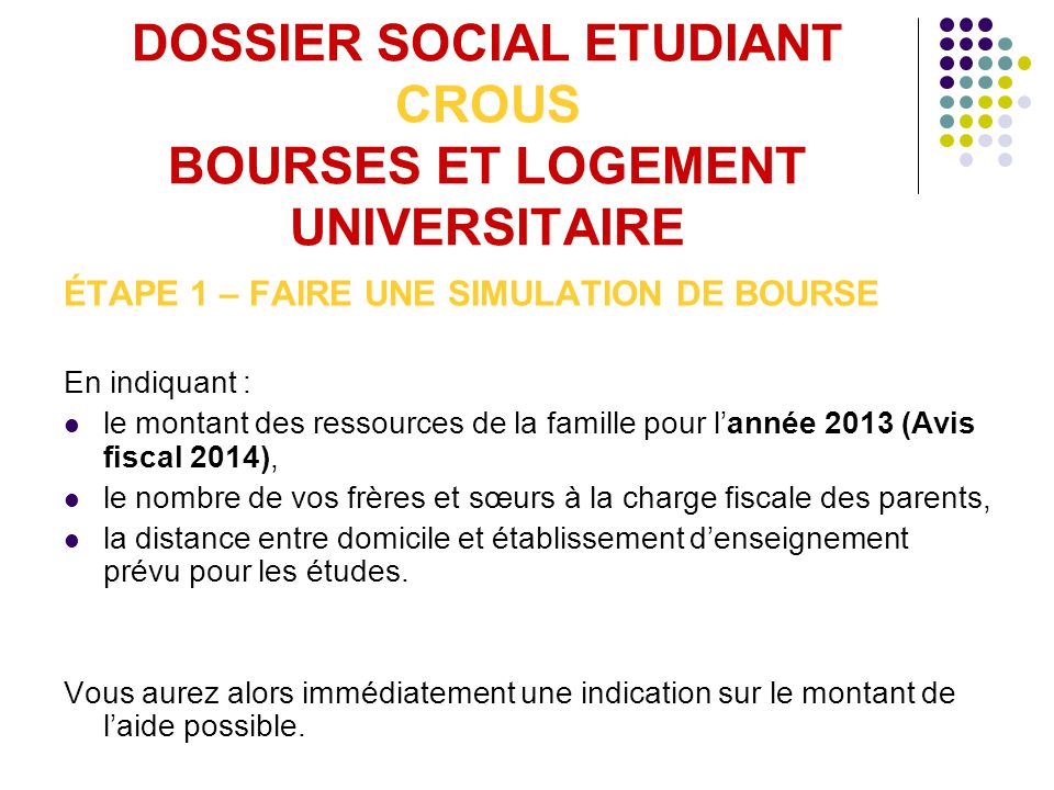 Simulation bourse tudiant 2013 - Payer son loyer crous ...
