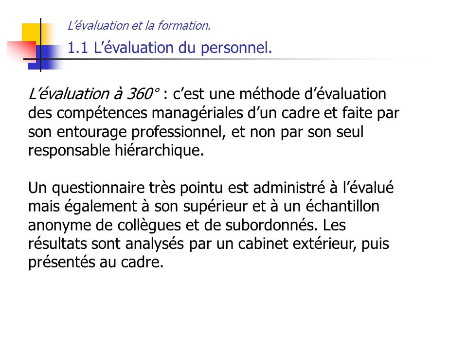 1.1 L'évaluation du personnel.