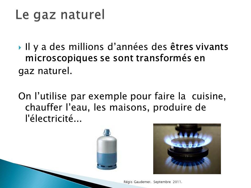 Le gaz naturel Il y a des millions d'années des êtres vivants microscopiques se sont transformés en.