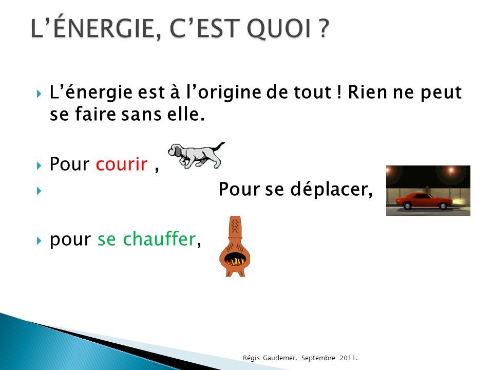 L'ÉNERGIE, C'EST QUOI L'énergie est à l'origine de tout ! Rien ne peut se faire sans elle. Pour courir ,