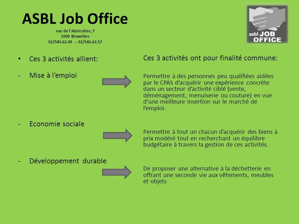 Asbl job office rue de l abricotier bruxelles 02 ppt - Office national de l emploi bruxelles ...