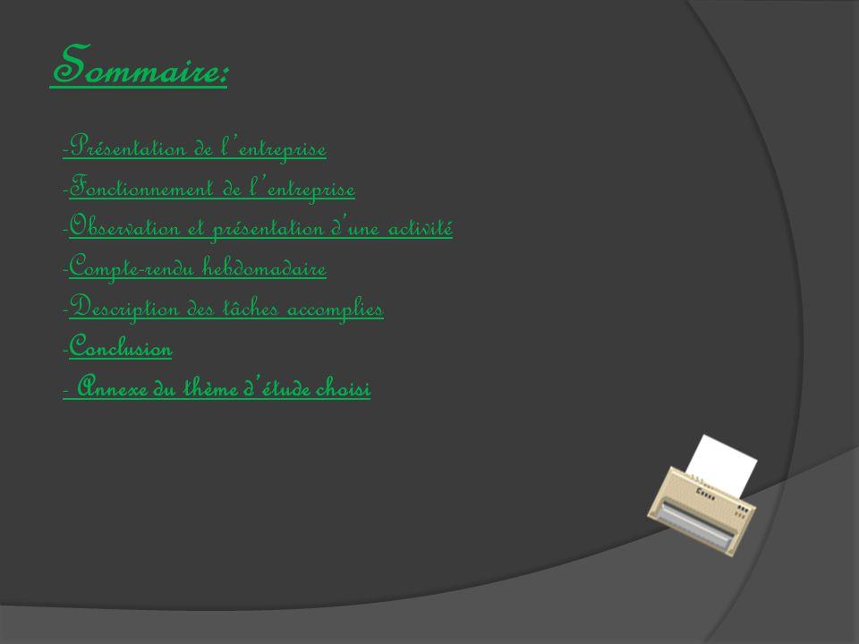 Sommaire: -Présentation de l'entreprise