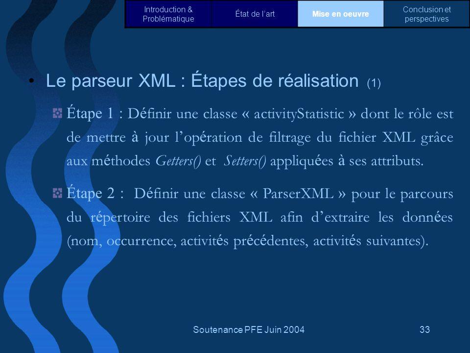 Le parseur XML : Étapes de réalisation (1)