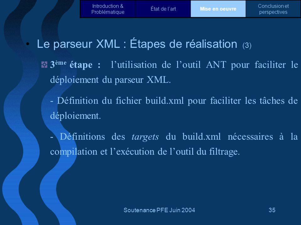 Le parseur XML : Étapes de réalisation (3)