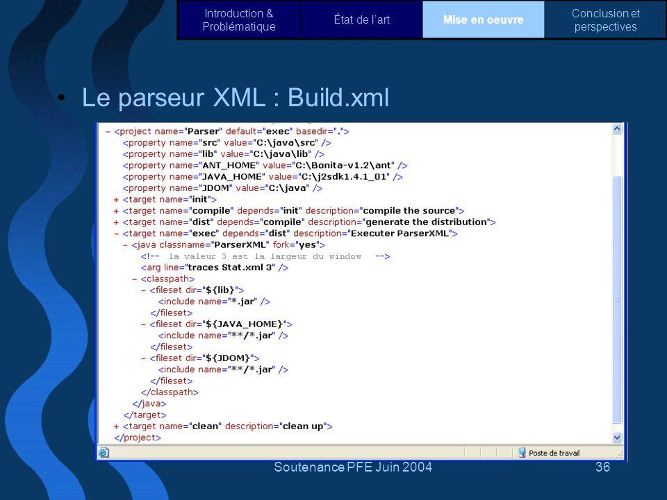 Le parseur XML : Build.xml