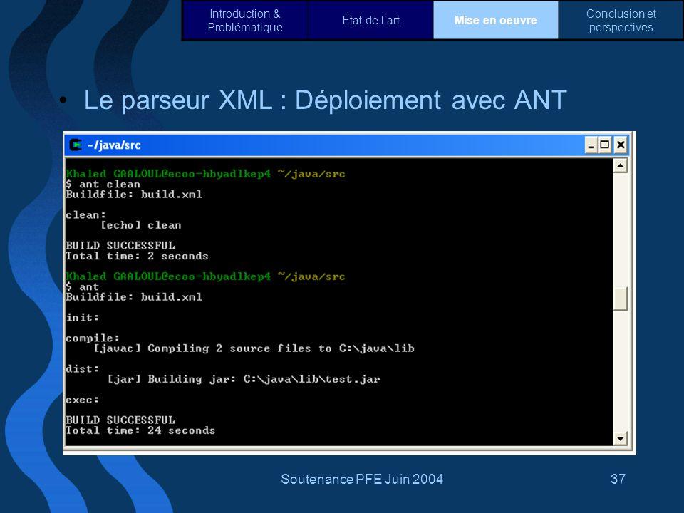 Le parseur XML : Déploiement avec ANT