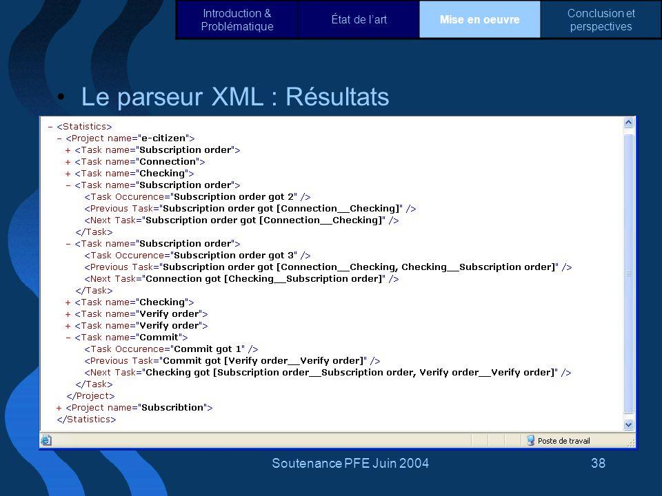 Le parseur XML : Résultats
