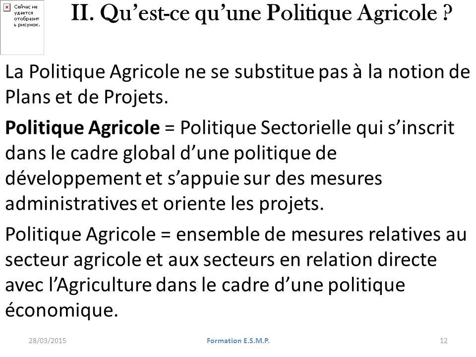 e s m p formation en d 233 finition et mise en oeuvre des politiques agricoles en direction des