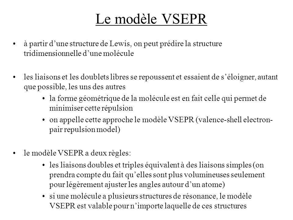 Le modèle VSEPR à partir d'une structure de Lewis, on peut prédire la structure tridimensionnelle d'une molécule.