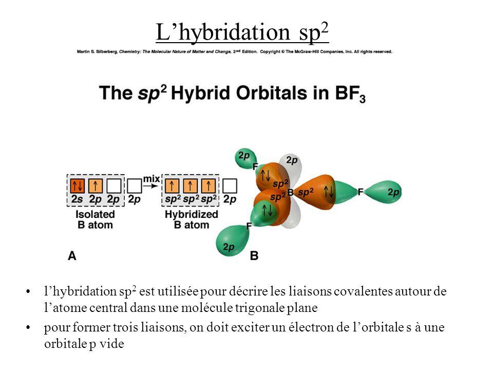 L'hybridation sp2 l'hybridation sp2 est utilisée pour décrire les liaisons covalentes autour de l'atome central dans une molécule trigonale plane.
