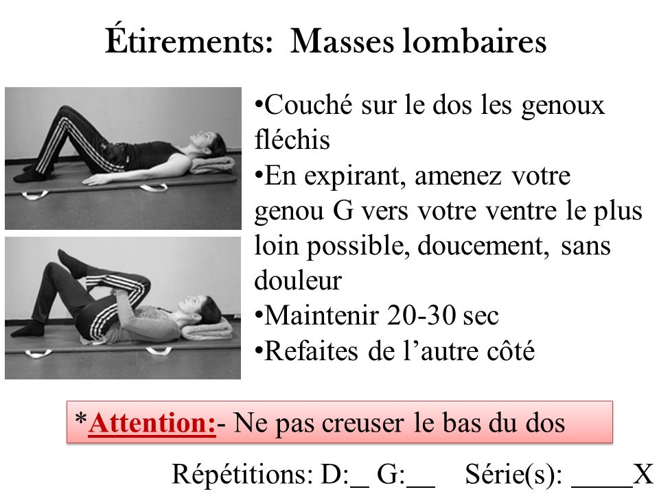 Routines motrices tirements g n raux diapos 5 ppt video for Douleur sur le cote exterieur du genou