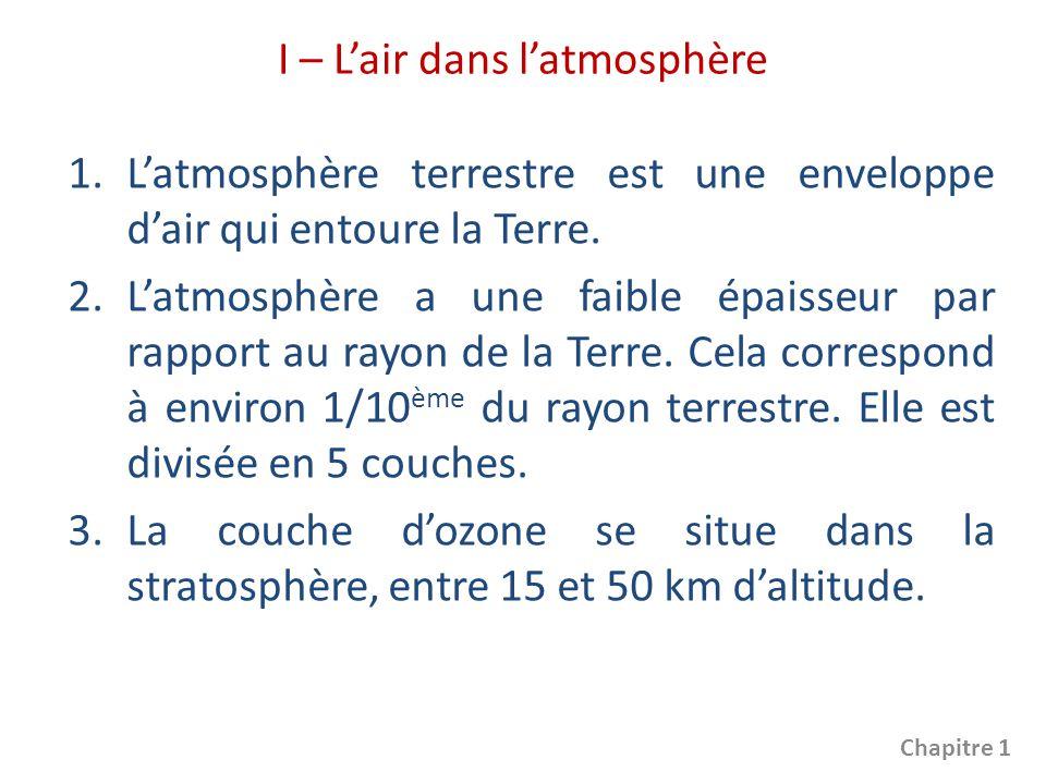 La chimie chapitre 1 composition de l air p 12 ppt - Distance entre la terre et la couche d ozone ...