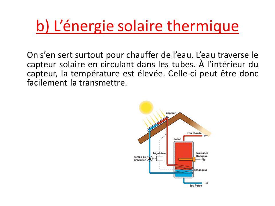 b) L'énergie solaire thermique