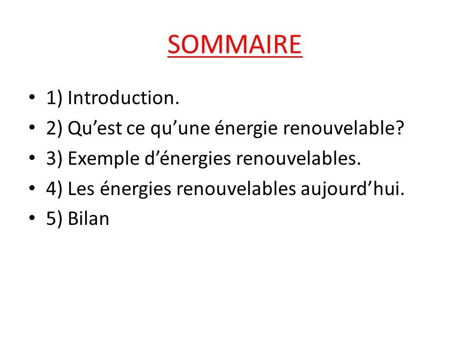 SOMMAIRE 1) Introduction. 2) Qu'est ce qu'une énergie renouvelable
