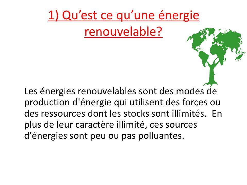 1) Qu'est ce qu'une énergie renouvelable