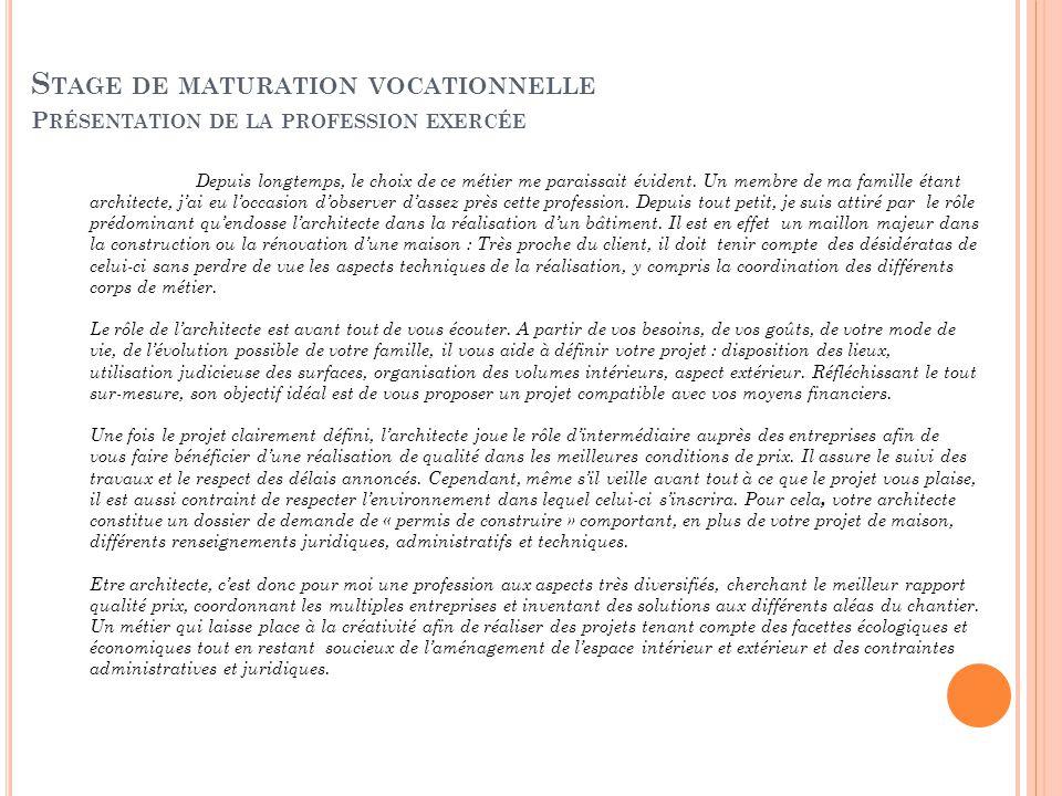 Maturation vocationnelle ppt t l charger for Stage architecte interieur