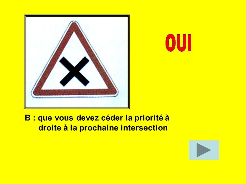 OUI B : que vous devez céder la priorité à droite à la prochaine intersection