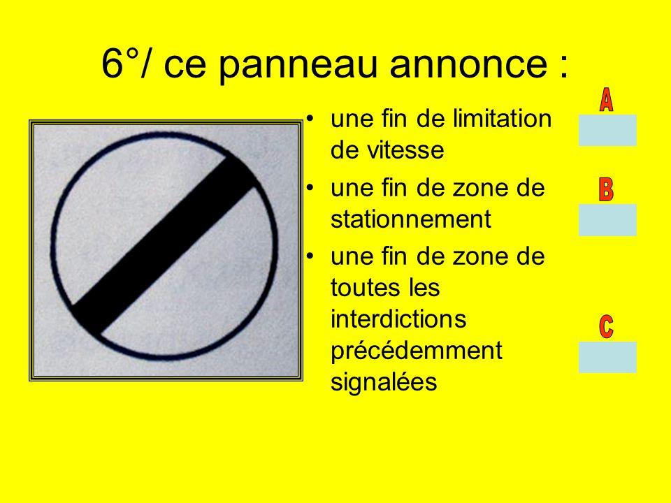 6°/ ce panneau annonce : une fin de limitation de vitesse