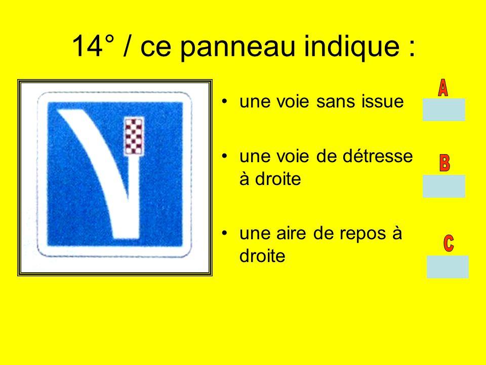 14° / ce panneau indique : une voie sans issue