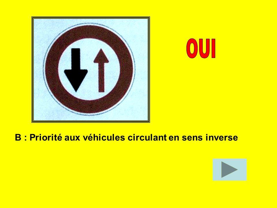 OUI B : Priorité aux véhicules circulant en sens inverse