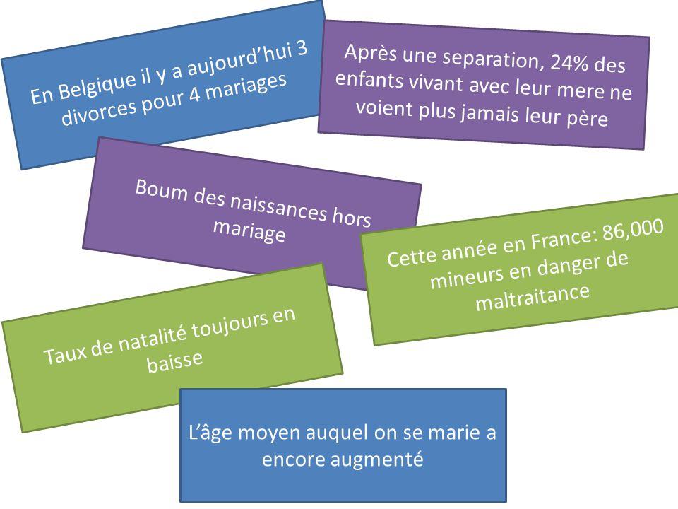 En Belgique il y a aujourd'hui 3 divorces pour 4 mariages