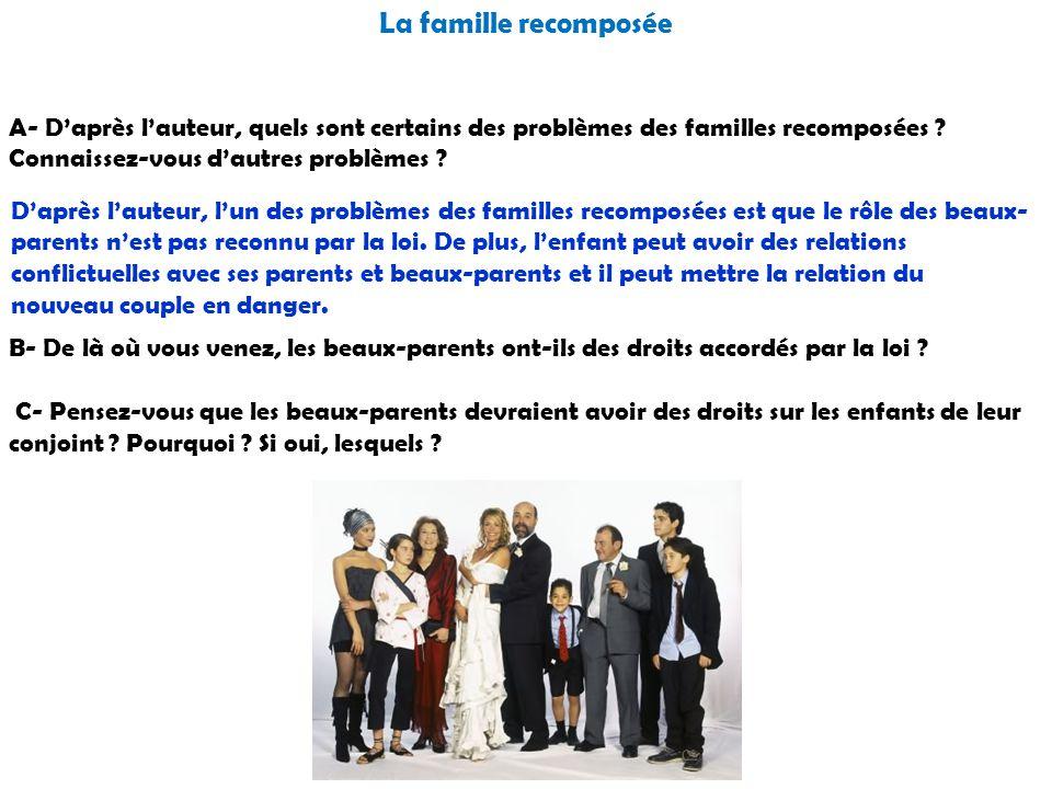 La famille recomposée A- D'après l'auteur, quels sont certains des problèmes des familles recomposées Connaissez-vous d'autres problèmes