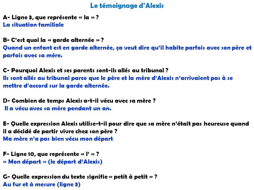 Le témoignage d'Alexis