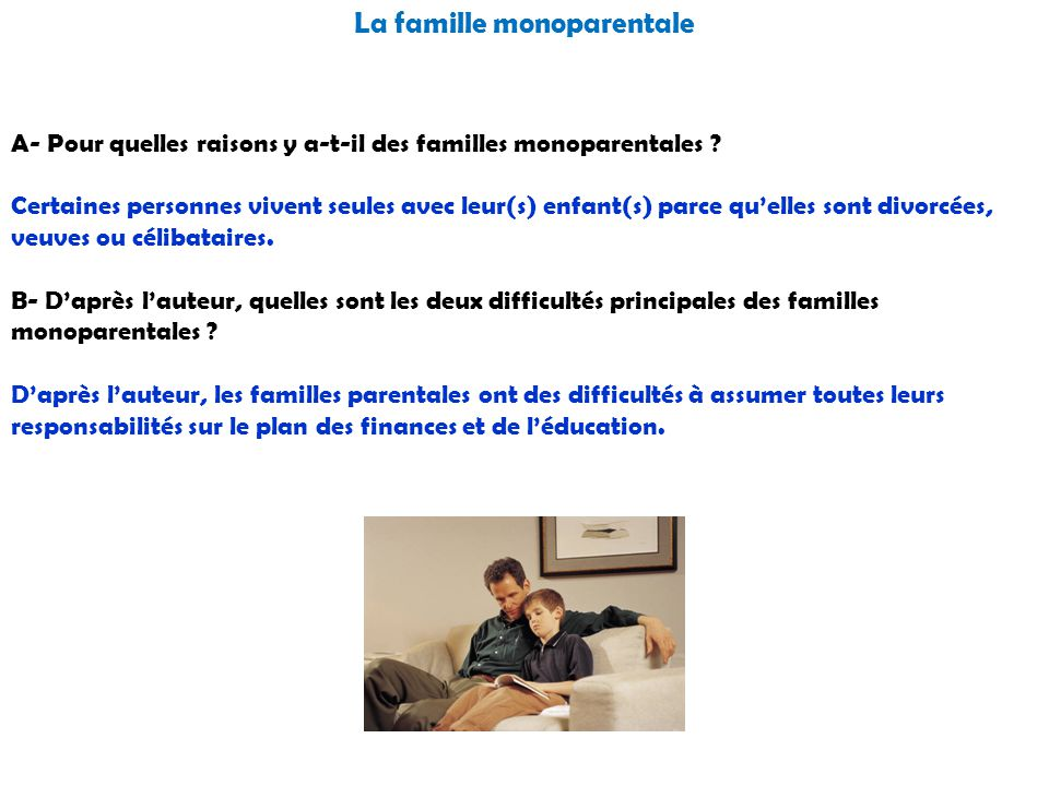 La famille monoparentale