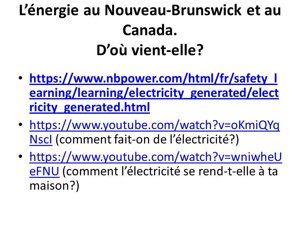 L'énergie au Nouveau-Brunswick et au Canada. D'où vient-elle