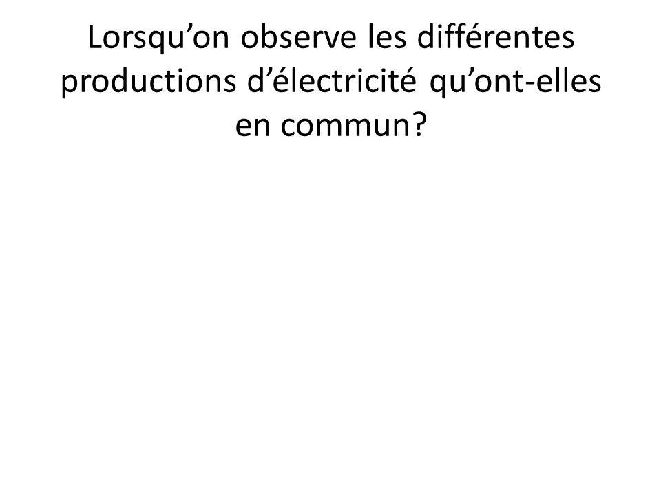 Lorsqu'on observe les différentes productions d'électricité qu'ont-elles en commun