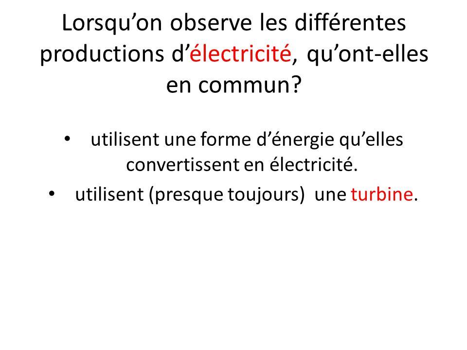 Lorsqu'on observe les différentes productions d'électricité, qu'ont-elles en commun