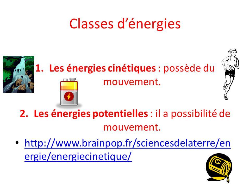 Classes d'énergies Les énergies cinétiques : possède du mouvement.