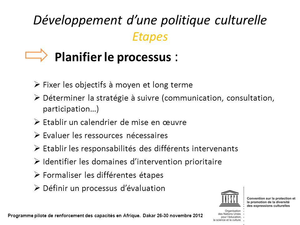 Développement d'une politique culturelle Etapes