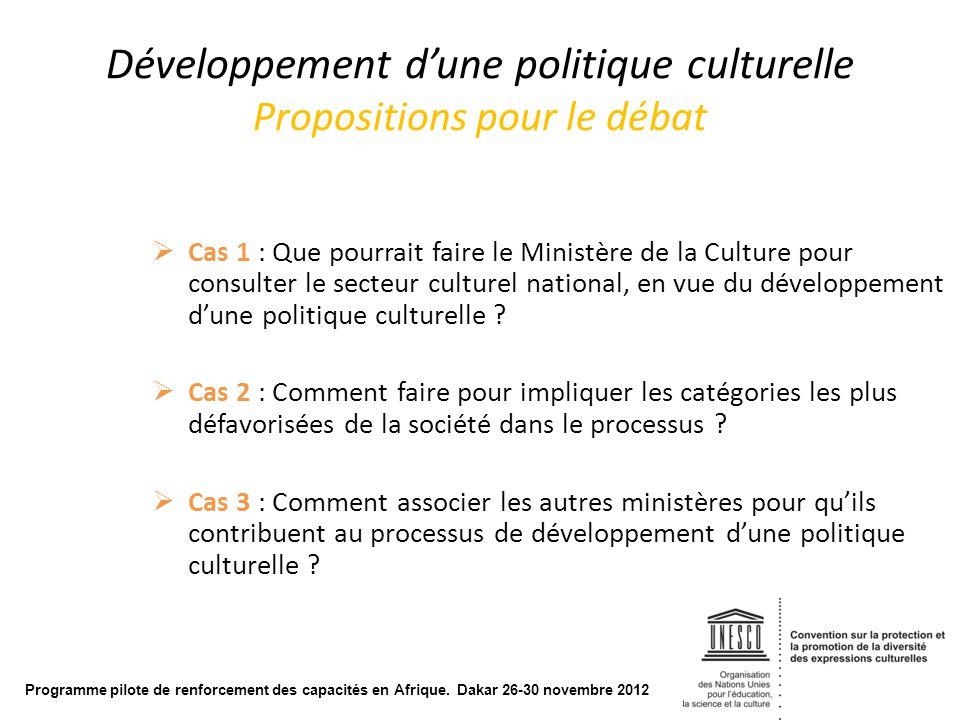Développement d'une politique culturelle Propositions pour le débat