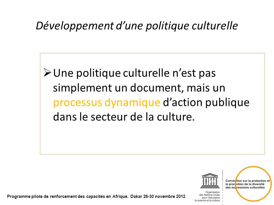 Développement d'une politique culturelle
