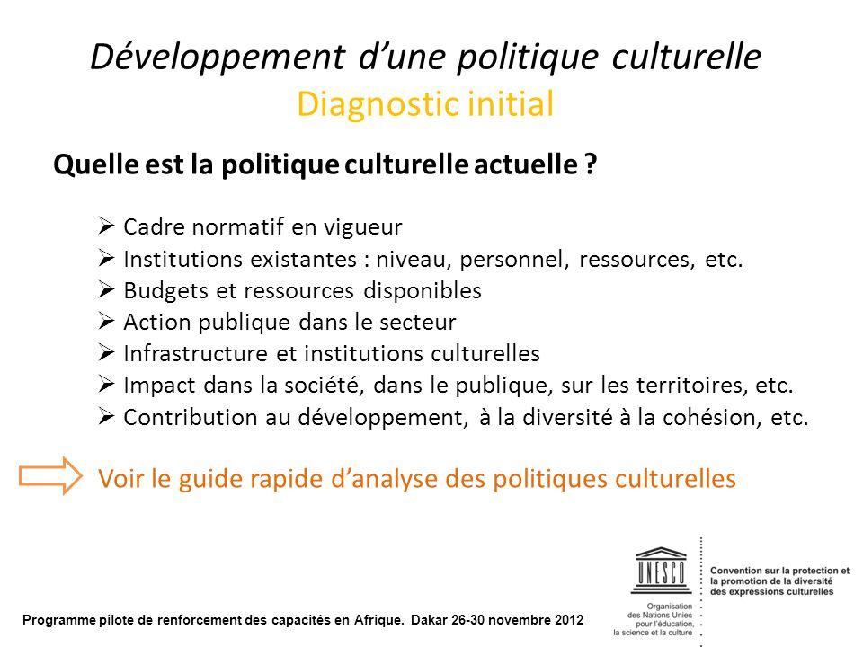 Développement d'une politique culturelle Diagnostic initial